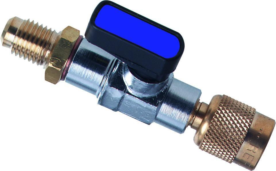 Vanne à boule pour tuyau de charge CA 1/4 SAE bleue diamètre 1/4'' Réf 4493525
