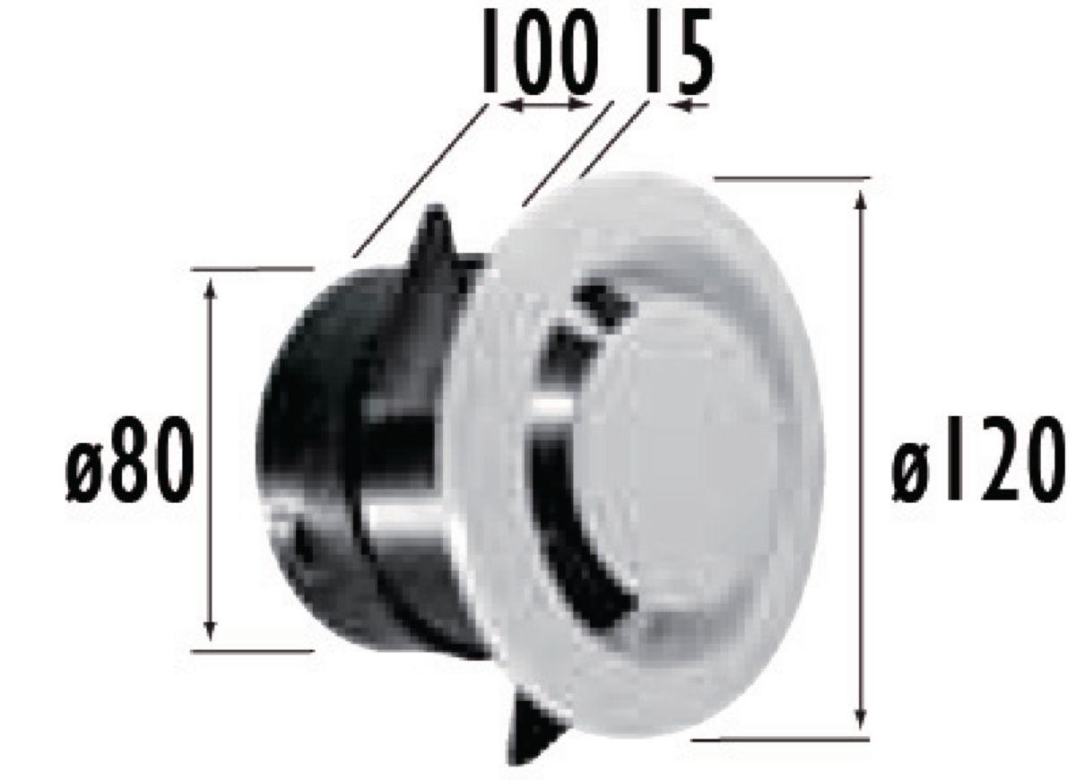 Bouche d'extraction fixe. manchon court paroi mince TYPE NP diamètre : 80 Lg : 100 mm PB 80 N Réf 422147