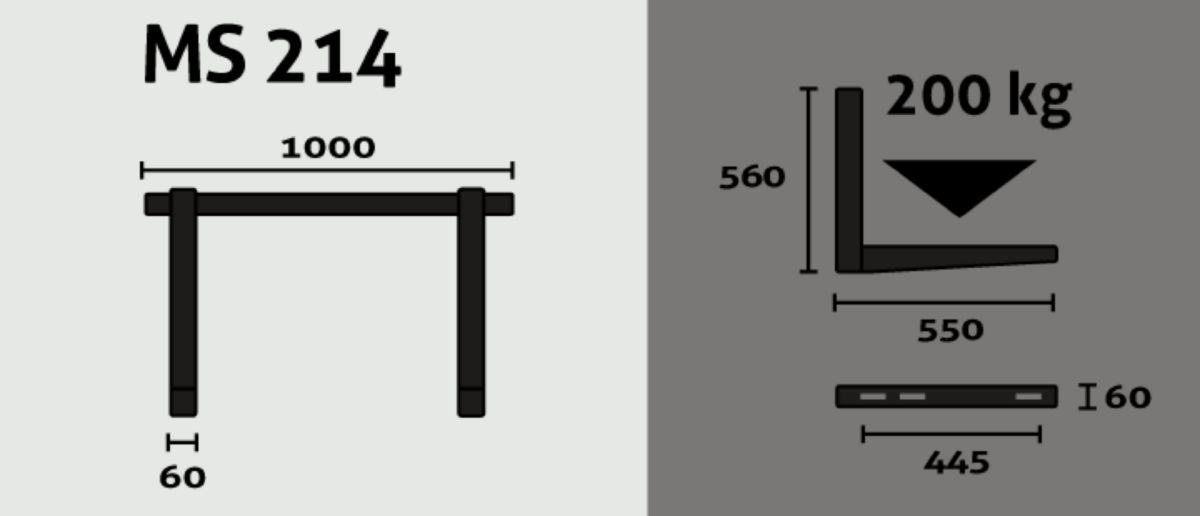 Support mural avec barre alu et attelage frontal 550x560x1000mm portée 100kg/bras Réf MS214