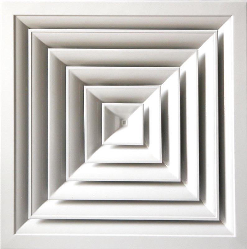 Grille de soufflage carrée blanche 150x150mm débit mini/maxi (m3/h) 170/210 Réf AGI109