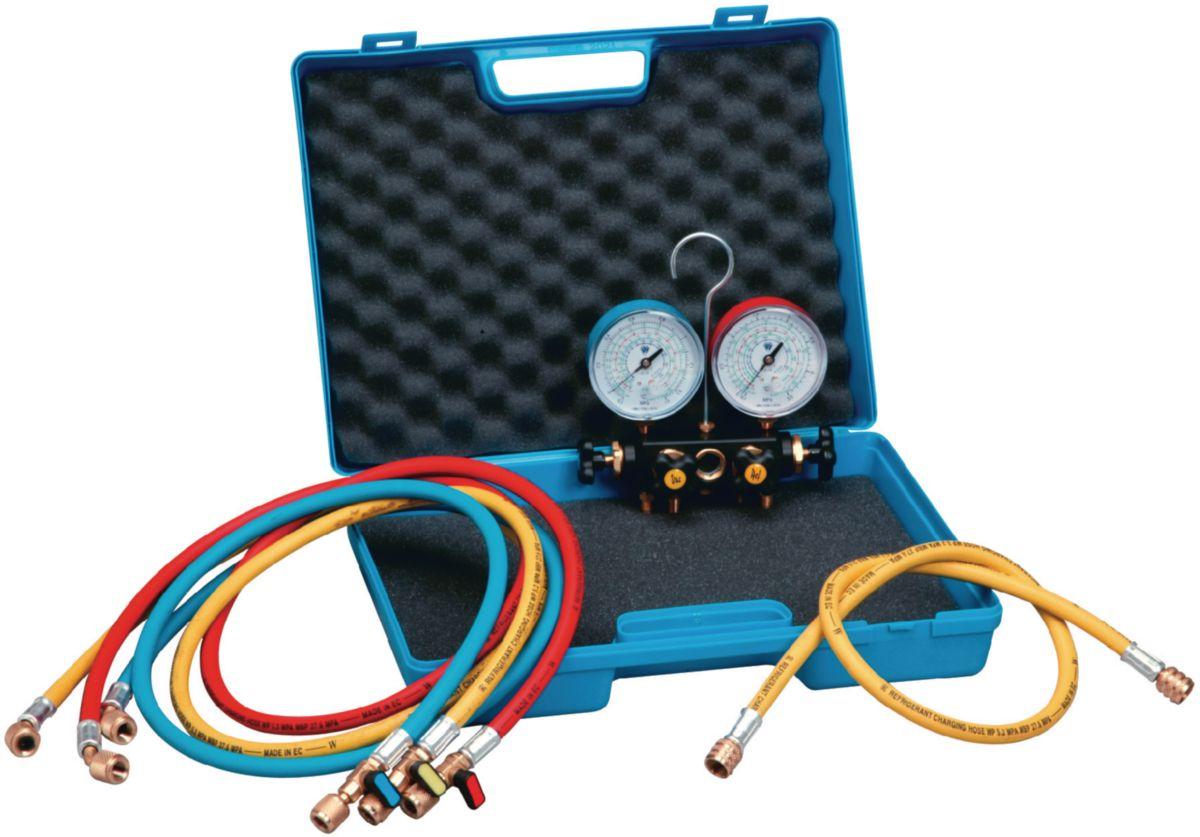 Kit Manifold 2V bain d'huile R410A-R32 + 3 flexibles avec vanne R410A 150cm KF2BLA4-5-K1-VHDSS60-DPO