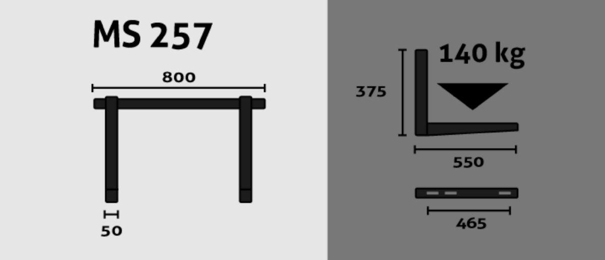 Support mural avec barre et niveau 550x375x800mm portée 70kg/bras Réf MS257