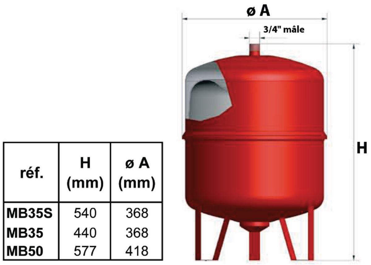 Vase d'expansion à membrane 35 litres tarage 1,5 bars réf. MB35S
