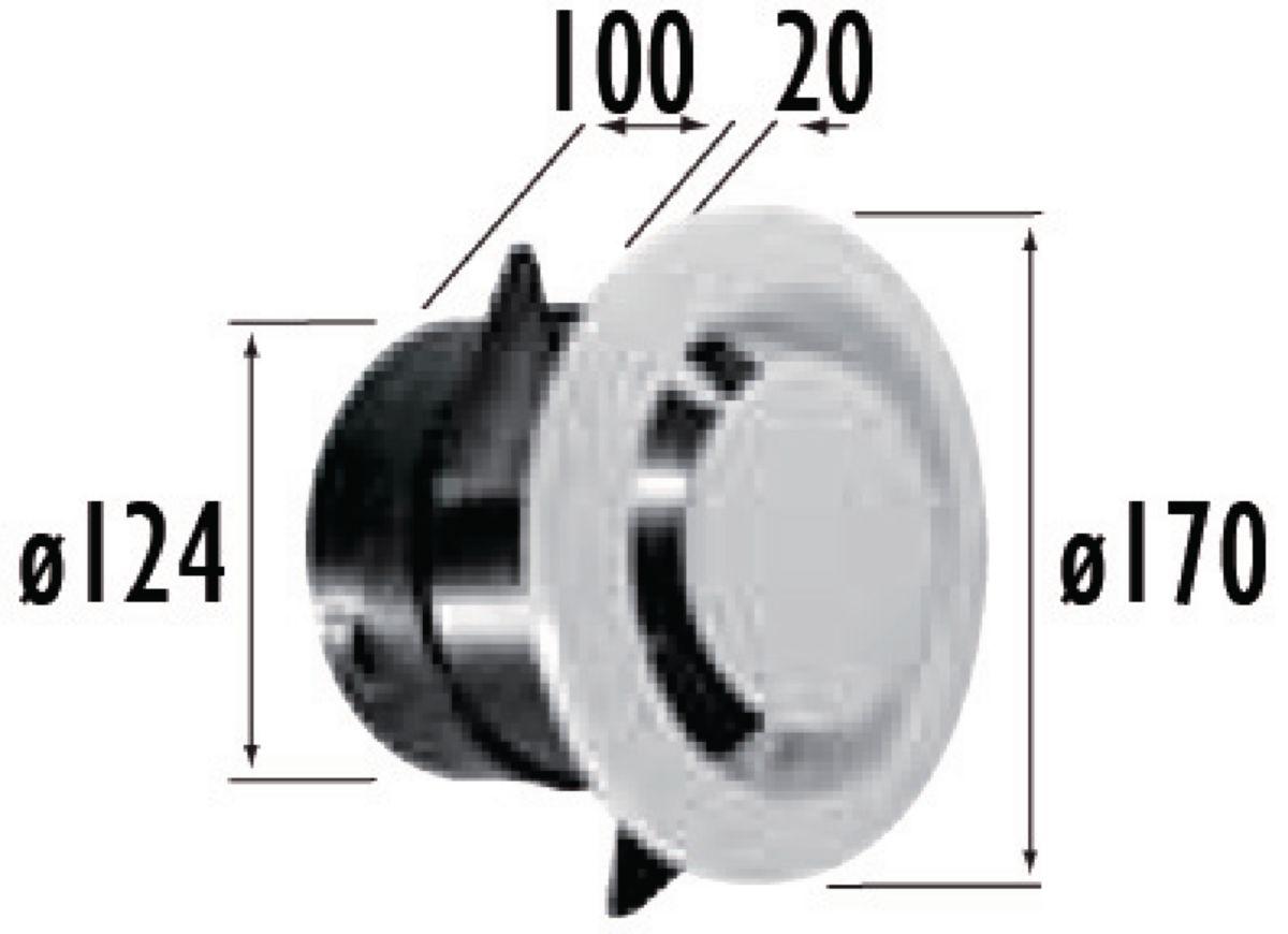Bouche d'extraction fixe. manchon court paroi mince TYPE NP diamètre : 125 Lg : 100 mm GB 125 NP Réf 422152