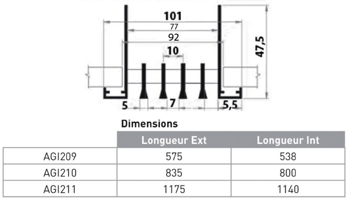 Grille linéaire multi fentes 1135mm AGI211