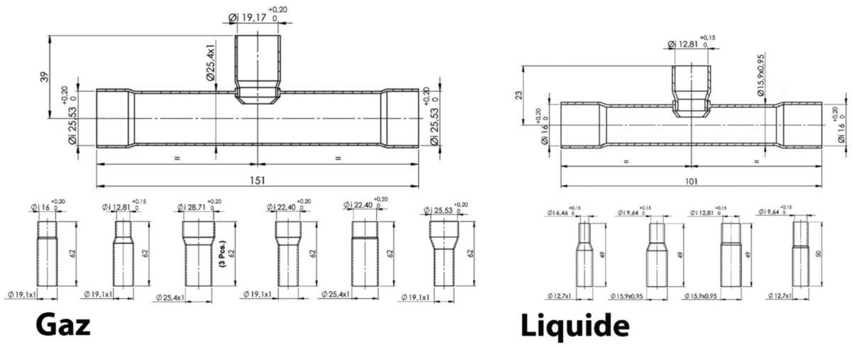 Dérivation T kit complet gaz/liquide et isolant M1 réf. CMYY202G2