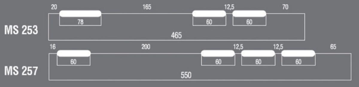 Support mural avec barre et niveau 465x375x800mm portée 70kg/bras Réf MS253