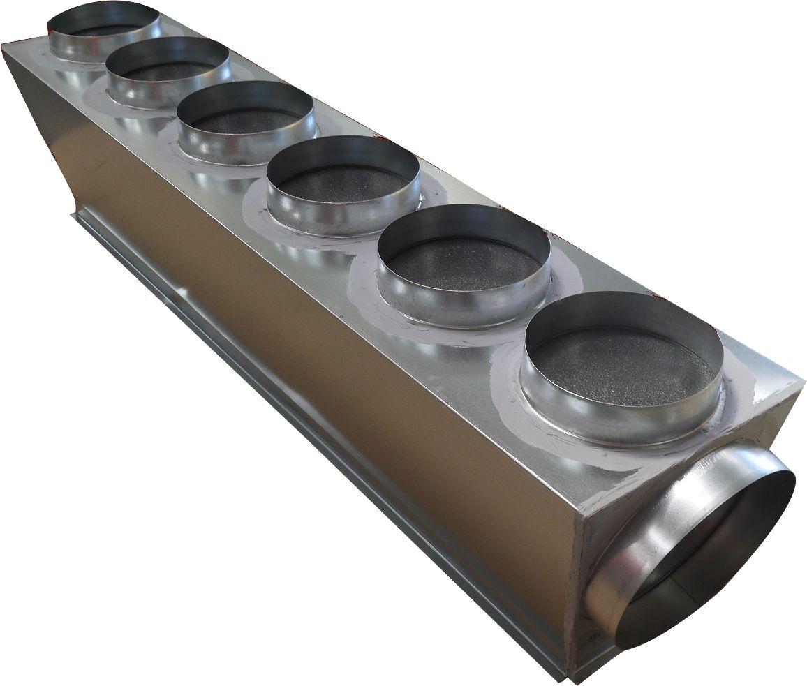 Plénum de soufflage isolé M1 taille L pour gainable PEAD-RP/100/125/JAQ PEAD-SP/100/125/JA piquages 6x200+2x250 Réf PLSFL-MITSU-L