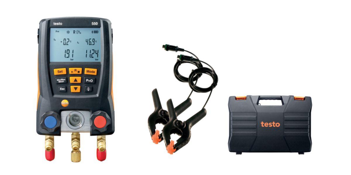 Set analyseur froid TESTO 550 comprenant Testo 550 Bluetooth + 2 sondes pinces + mallette + piles + protocole de vérification Réf 05631550